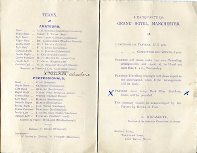 1926 Amateurs v Pros Maine Road 2small