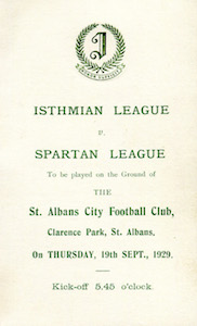 1929 Isthmian Lge v Spartan Lge 1small