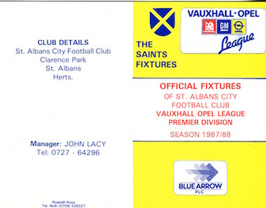 1987 88 Fixture Card 1 small