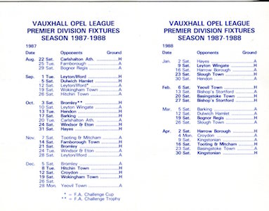1987 88 Fixture Card 2 small