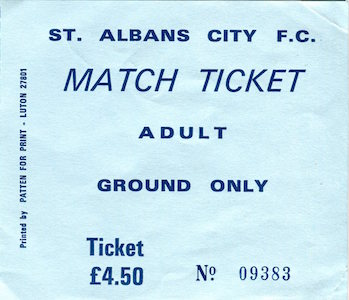 1995 96 matchday ticket small